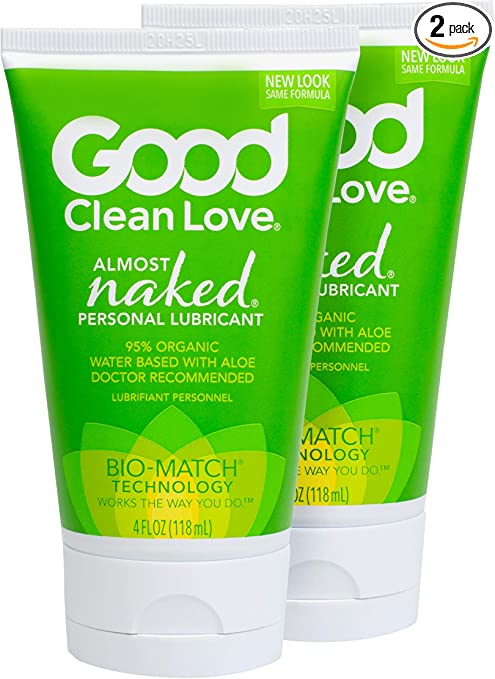 Good Clean Love: Almost Naked Personal Lubricant 2 Pack, 4 Ounce Bottles, Organic & Aloe-Based