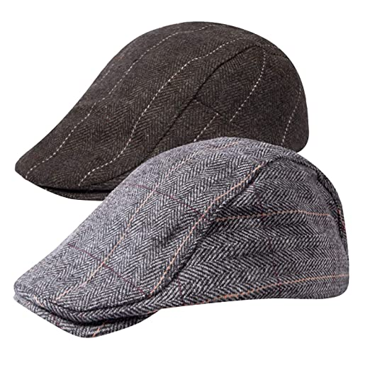 d8b499a4885 Senker 2 Pack Men s Classic Herringbone Tweed Wool Blend Flat Cap Ivy  Gatsby Newsboy Cabbie Driving