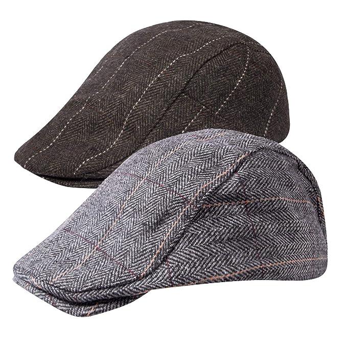 377f736915 Senker 2 Pack Men's Classic Herringbone Tweed Wool Blend Flat Cap Ivy  Gatsby Newsboy Cabbie Driving Hat
