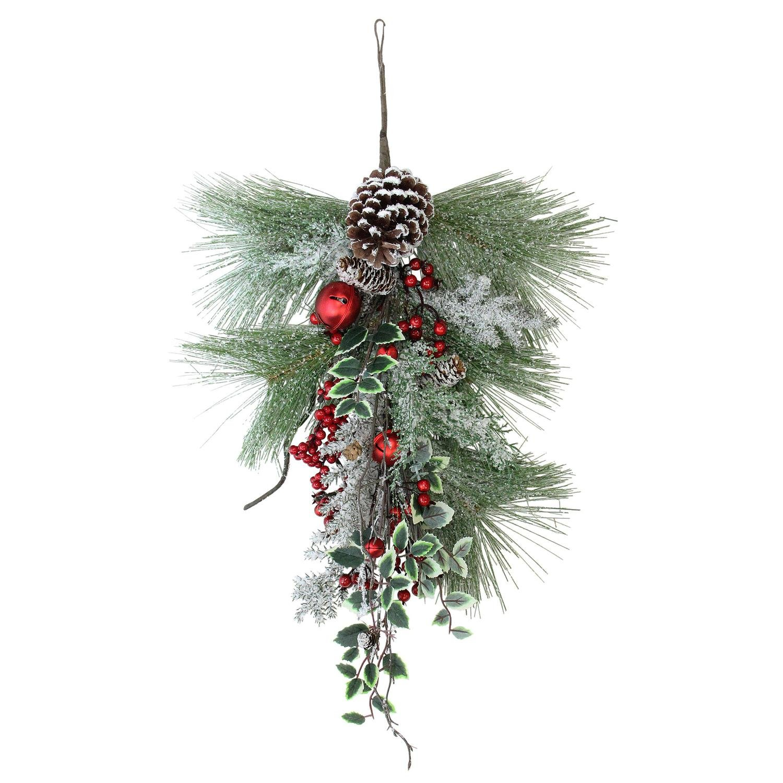 Northlight 26.5'' Frosted Red Bells, Berries and Pine Cones Artificial Christmas Door Swag - Unlit