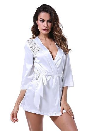 BellisMira Batas de Mujeres Kimonos Pijamas Albornoces Cortas con Cintura Mangas 3/4 Ropa de