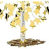 Relaxdays Lanceur de confettis canon confettis party popper étoile dorée 40 cm portée 6-8 m, doré
