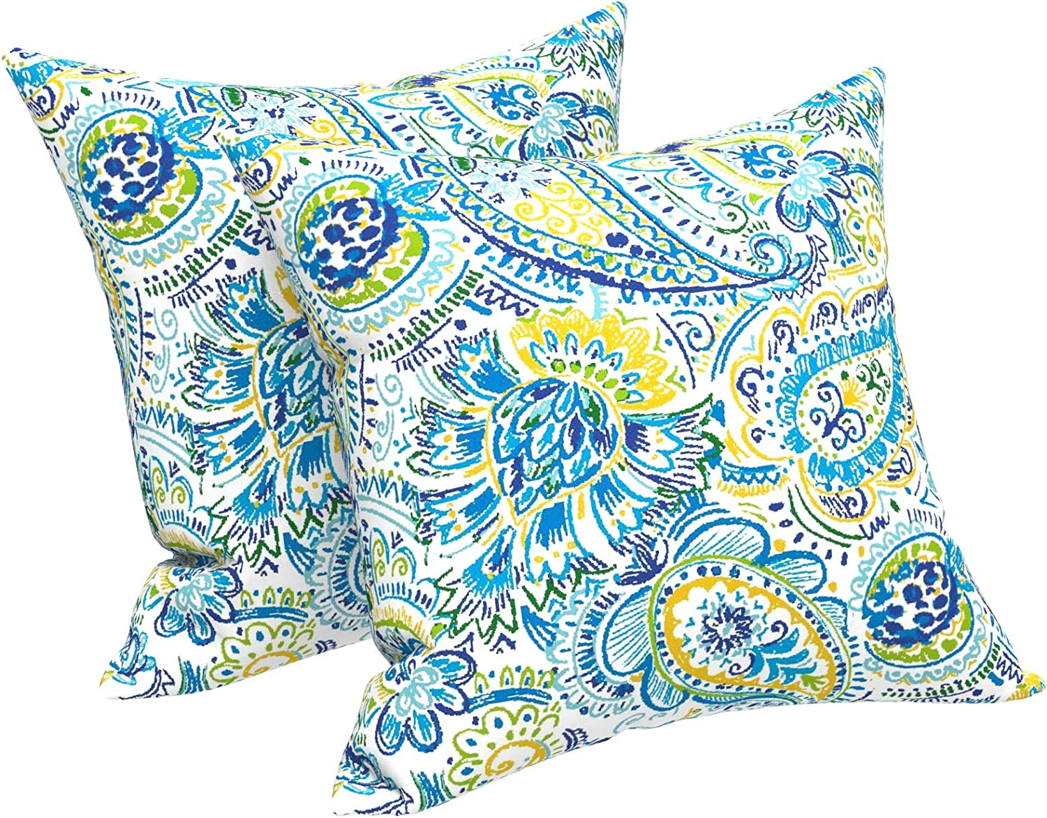 LVTXIII Outdoor Throw Pillow Covers 18 x 18 Inch, Modern Paisley Pattern Decorative Square Toss Pillow Case Pack of 2 for Home Patio Garden Sofa Bed Furniture, Paisley Baltic