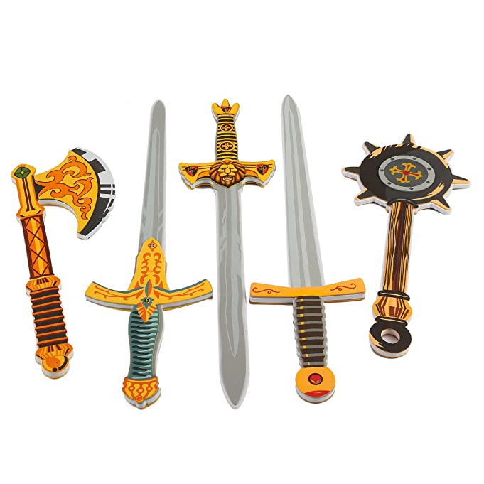 Gladiator Warrior Foam Swords   Weapons 5 Pack Extra Large Toy Set for Kids  with 3 47883db3253b4