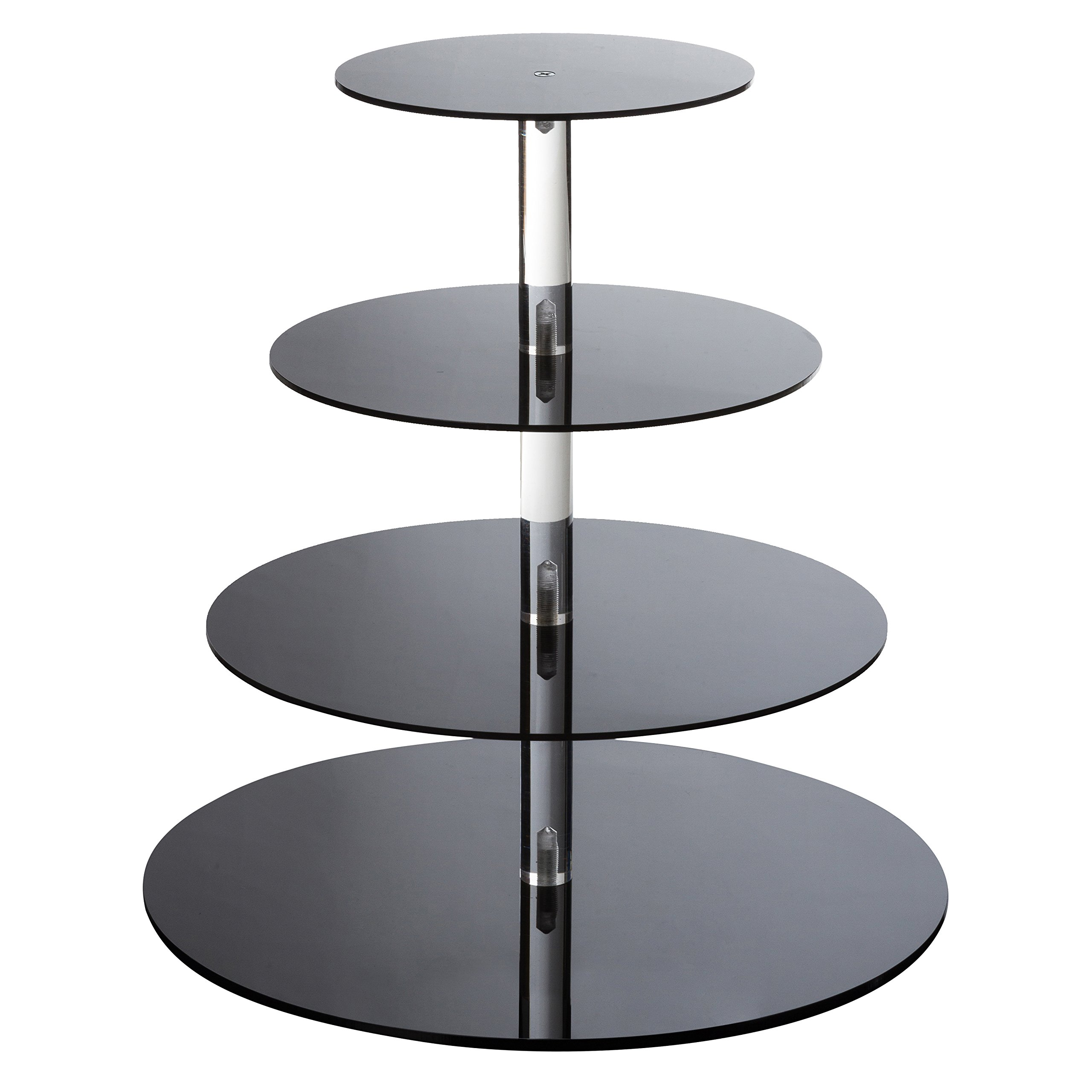 SinoAcrylic Cupcake Stand - 4 Tiers Round Cupcake Tower - Tiered Serving Dessert Cake Holder - Unique Black Exquisite Plate - Perfect for Wedding, Birthday, Party, Baby Shower and Xmas