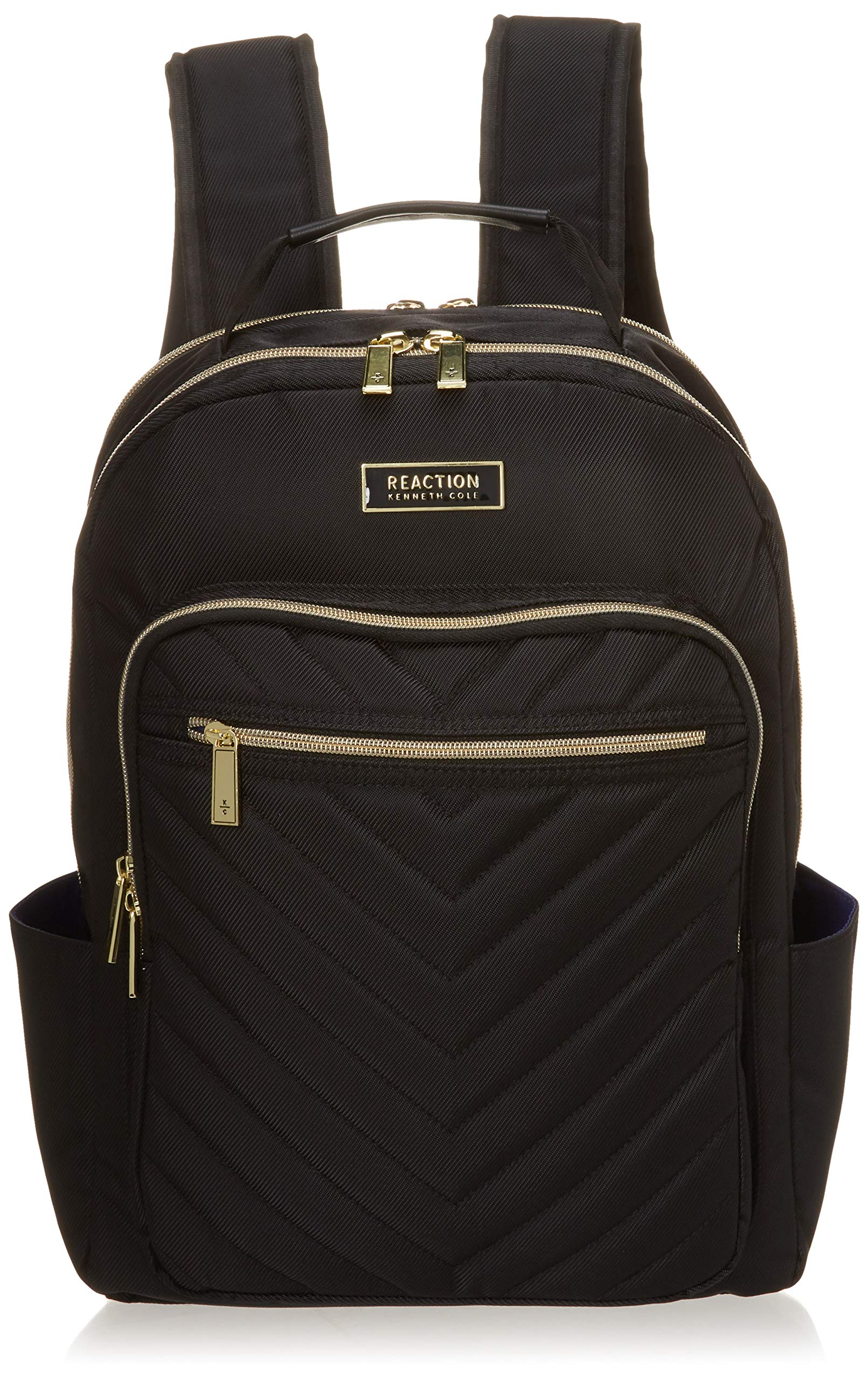 Kenneth Cole Reaction Women's Chevron Quilted Polyester Twill 15.6'' Laptop Backpack, Midnight Black One Size