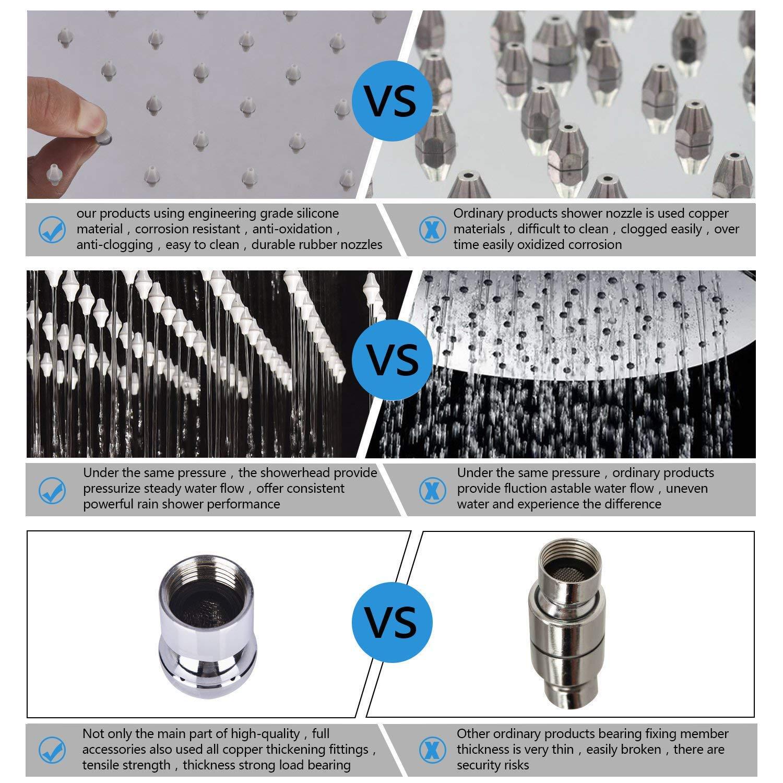 Ultrathin Soffioni per Doccia Quadrato Cromato in Acciaio Inox Anticalcare Docce Fisse diametro 20x20 cm Acefy 8 Pollice Soffione Doccia a Pioggia da Parete