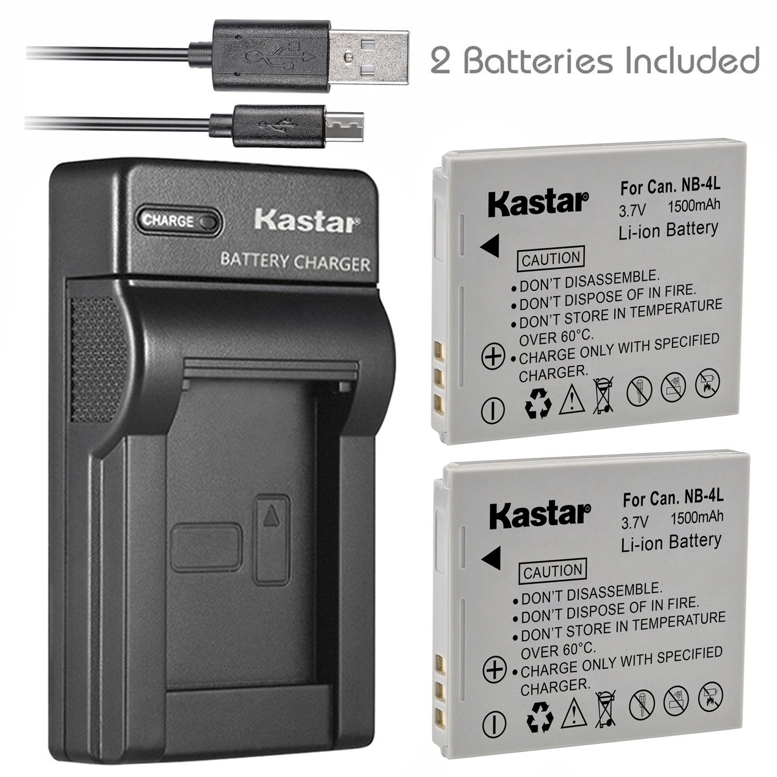 Kastar Battery (X2) & Slim USB Charger for Canon NB-4L, NB4L and Canon ELPH 100 HS, 300 HS, 310 HS, 330 HS, VIXIA mini, Powershot SD400, SD450, SD600, SD630, SD750, SD780, SD1000, SD1100 IS, SD1400 IS