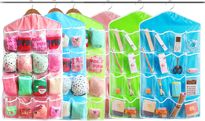 Amazon Com Inspiration 16 Pocket Hanging Closet Organizer Jewelry And Accessories Organizer Bra Underwear Socks Ties Hanging Organizer Shower Caddies Random Color Vinyl 6 Pack Home Kitchen