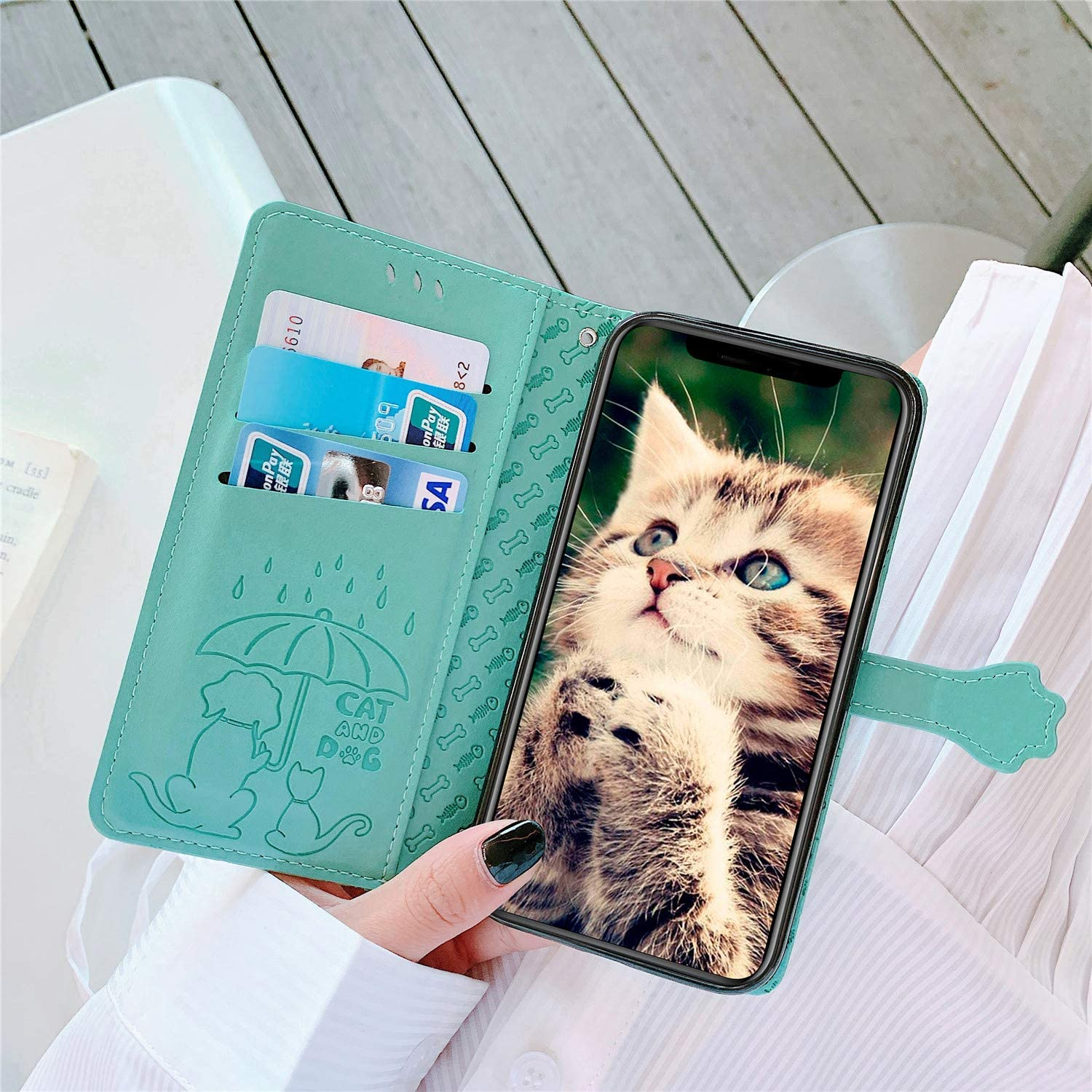 Thoankj Huawei Honor 9A Case Animals Cute Cat /& Dog Shockproof Flip PU Leather Wallet Cover with Magnetic Stand Folio TPU Silicone Bumper Protective Phone Case for Huawei Honor 9A Case Gold