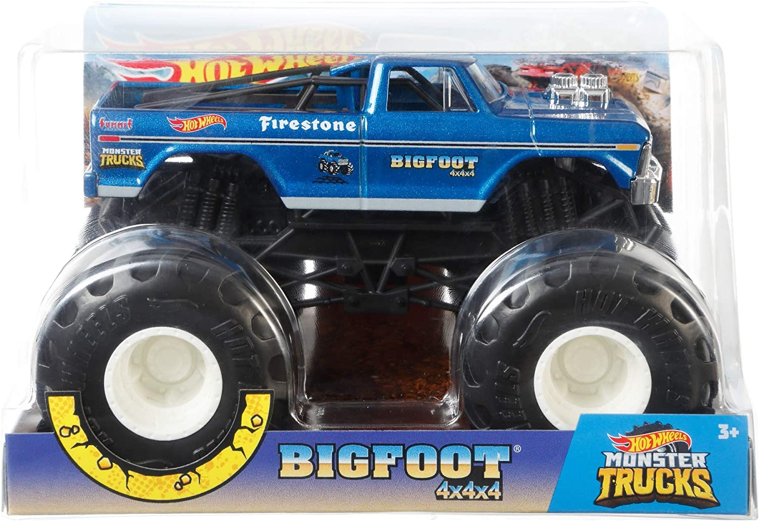 Amazon Com Hot Wheels Monster Trucks Bigfoot Die Cast 1 24 Scale Vehicle With Giant Wheels For Kids Age 3 To 8 Years Old Great Gift Toy Trucks Large Scales Toys Games