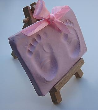 hole piercing tool and gift bag 2 ribbon styles makes 4-6 newborn prints Super soft Pink baby handprint footprint air drying clay