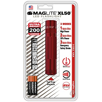 En Incluses Maglite Taille12 2 Cm Piles Aaa Blister Torche Xl50 Rouge mn08Nw