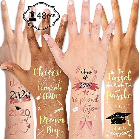Konsait 48Pcs Graduación Tatuajes Temporales, Fiesta de Graduación ...