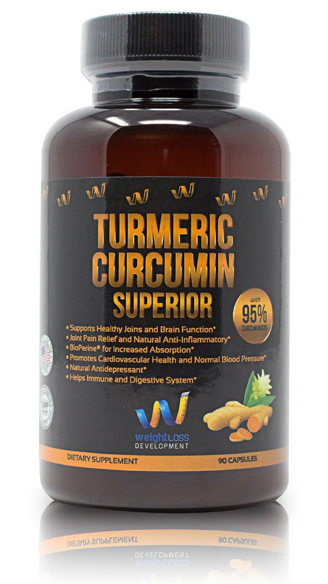 Turmeric Curcumin Supplement Capsules - 95% Curcuminoids & BioPerine Black Pepper Extract 1300 mg - Advanced Absorption, Anti-Inflammatory, Weight Loss, Cardiovascular & Joint Support - 90 Pills by Weight Loss Development Inc.