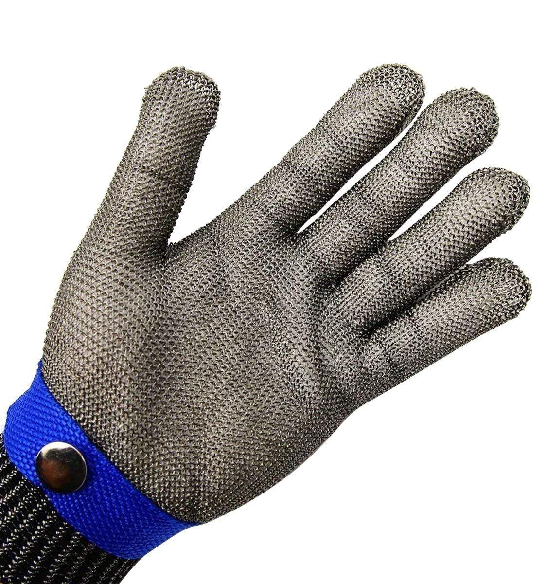 5f8db034ca7a0 Coupe de sécurité de Boucher en Cotte de Maille Acier inoxydable bleu Gants  Taille XL haute performance Protection de niveau 5