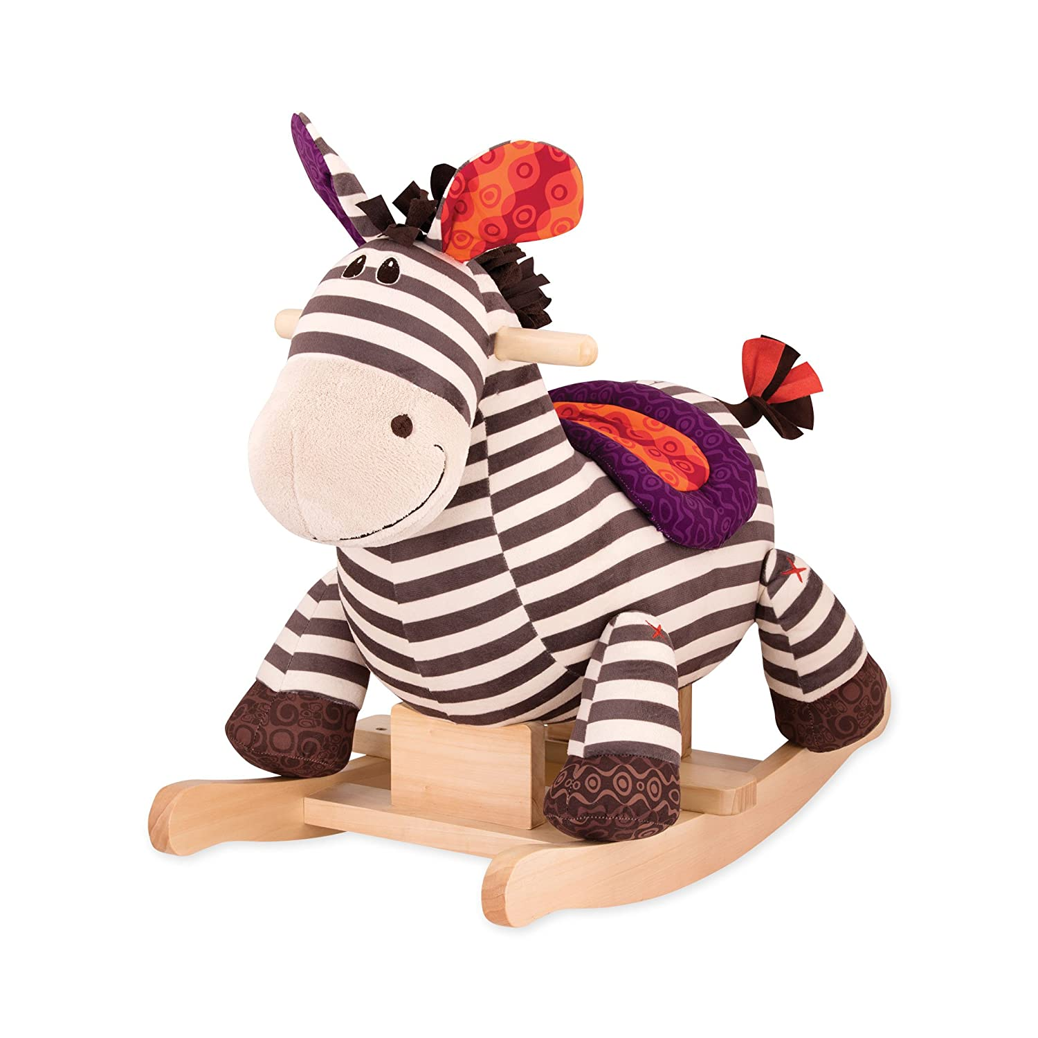 B toys – Kazoo Wooden Rocking Zebra – Rodeo Rocker – BPA Free Plush Ride On Zebra Rocking Horse for Toddlers and Babies 18m+