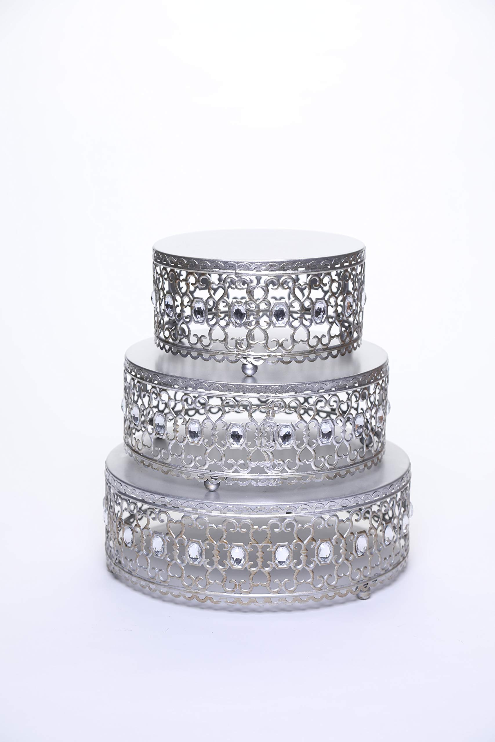 Opulent Treasures Set of 3 Riser Round Metal Cake Stands Clear Bead Decor (Antique Silver)