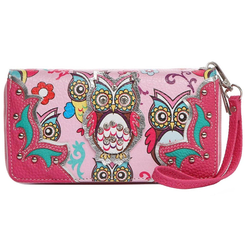 Colorful Owl Spring Western Style Fashion Clutch Purse Women Wristlets Wallet (Fuchsia)