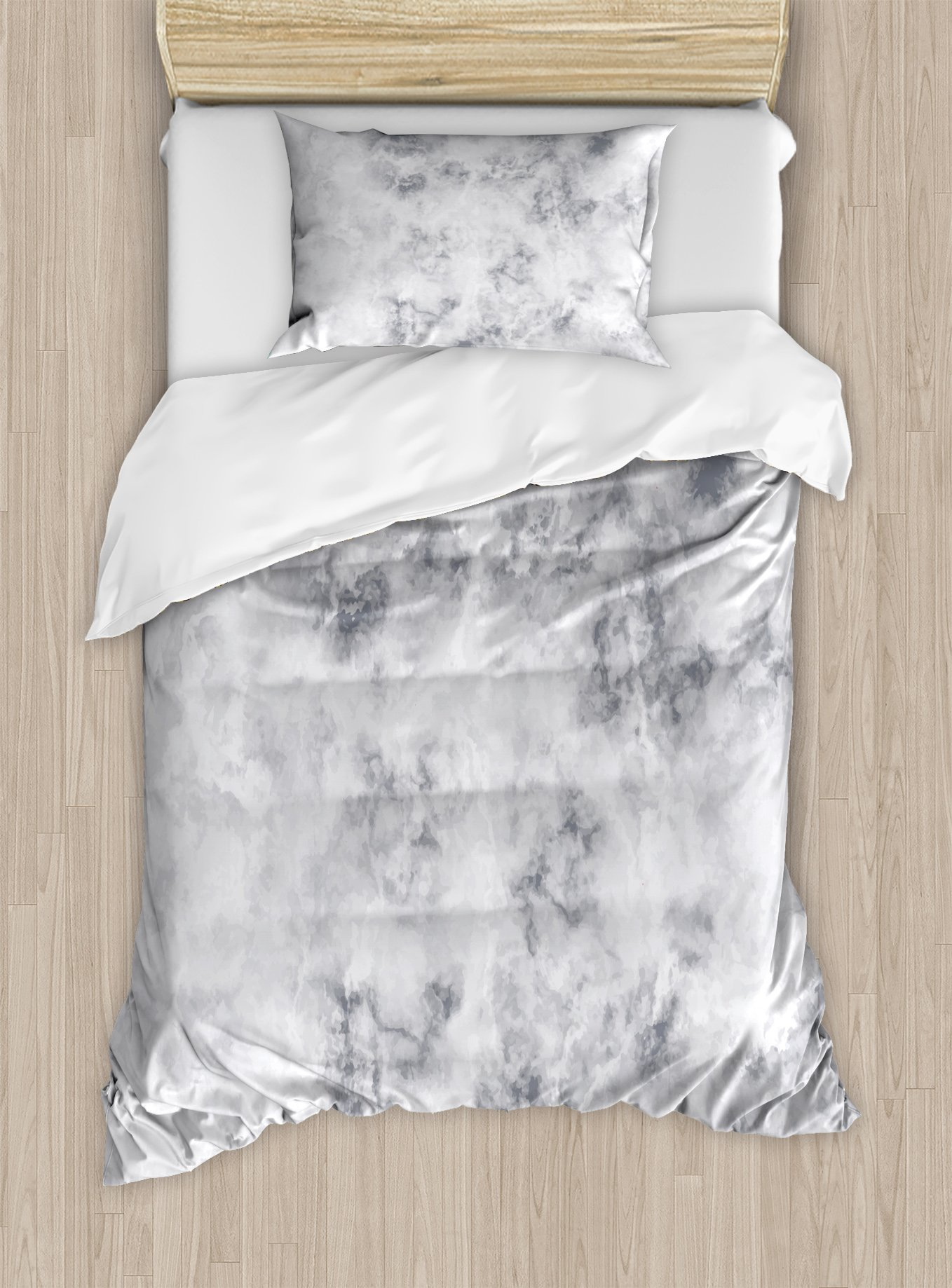 Ambesonne Marble Duvet Cover Set Twin Size, Granite Surface Pattern with Stormy Details Natural Mineral Formation Print, Decorative 2 Piece Bedding Set with 1 Pillow Sham, Pale Grey Dust