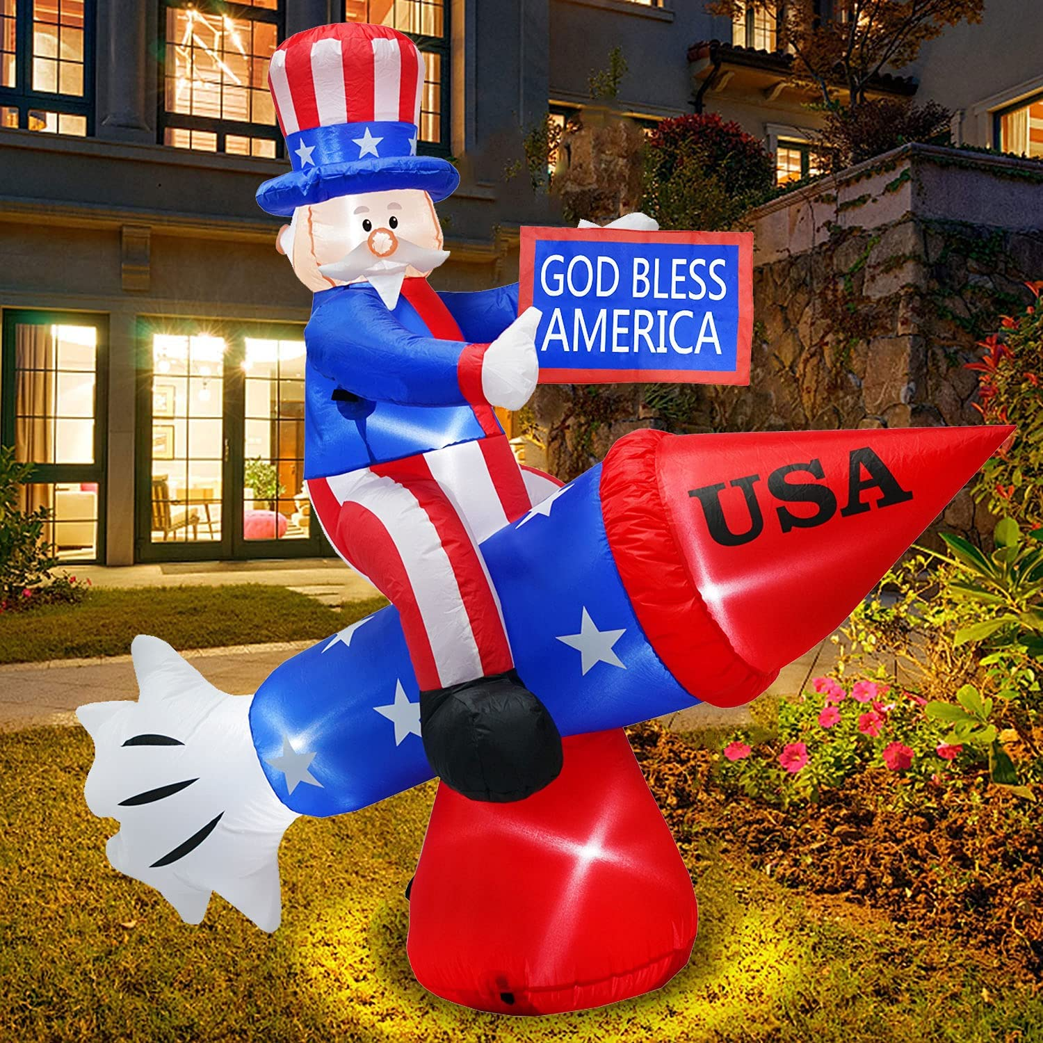 6.6 Foot Long Patriotic Independence Day 4th of July Inflatables Uncle Sam on Rocket, LED Blow Up Lighted Outdoor Decorations Holiday Party Yard Patio Lawn Garden Indoor Home Decor with Sandbag,Stakes