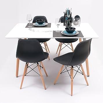 Conjunto de Comedor Tower con Mesa lacada Blanca y 4 sillas, de diseño nórdico (140x90, Negro)