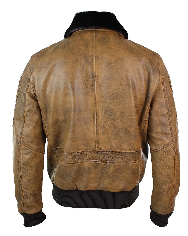 Aviatrix Mens Aviator Flying Pilot Bomber Jacket Vintage Tan Removable Black Fur Collar Brown s