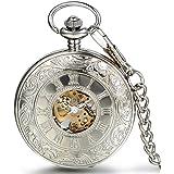 "JewelryWe Silver Half Hunter Classic Hand Wind Mechanical Roman Pocket Watch with 15"" Chain"