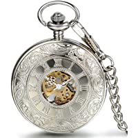 JewelryWe 银色怀表半猎人经典手风机械罗马吊坠手表带 38.1 厘米链条