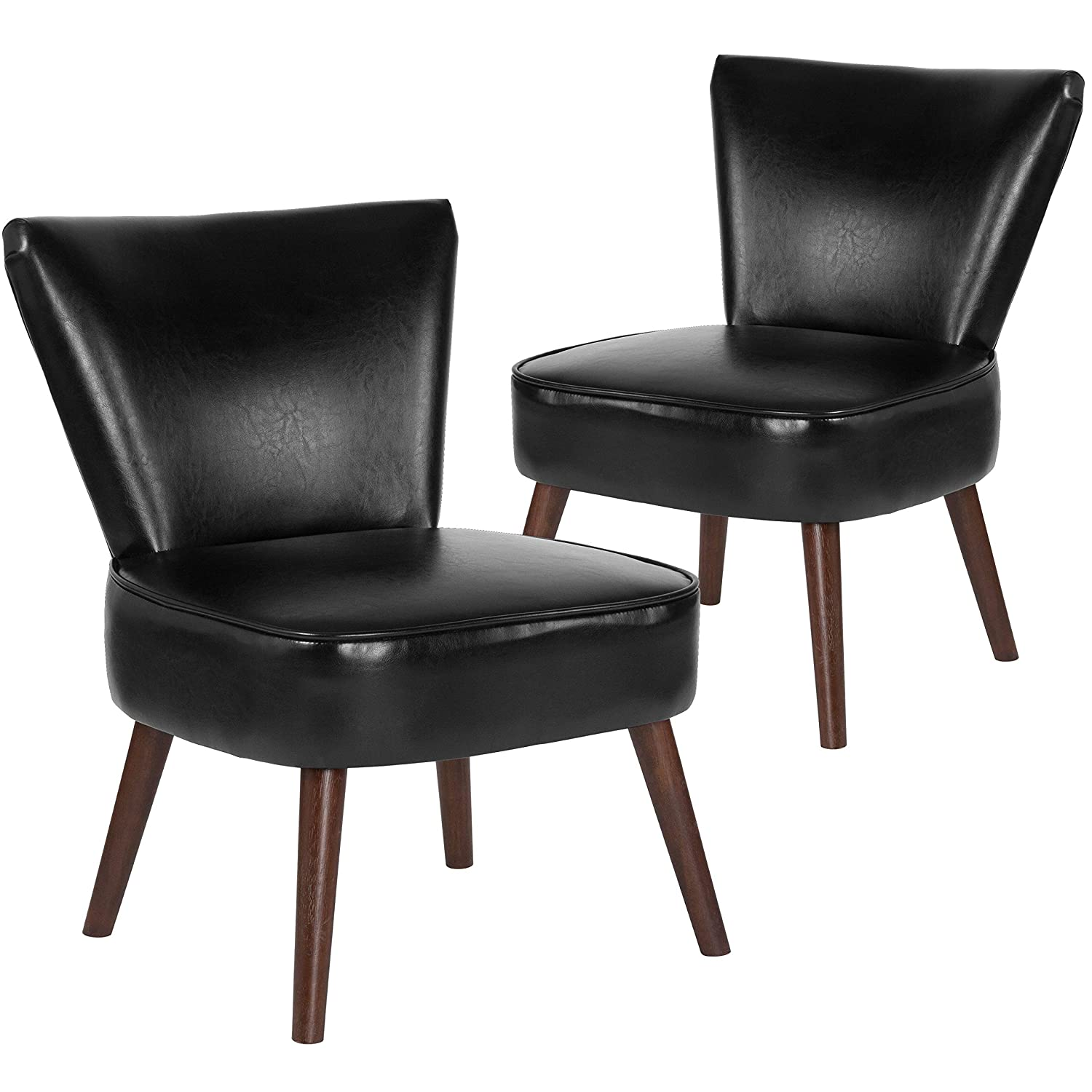 Flash Furniture 2 Pk. HERCULES Holloway Series Black Leather Retro Chair