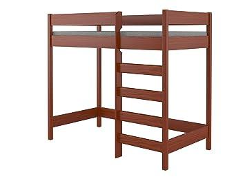 Hubi Loft Bunk Bed Cama Alta Madera Palisander 180x90x160 Amazon - Cama-loft