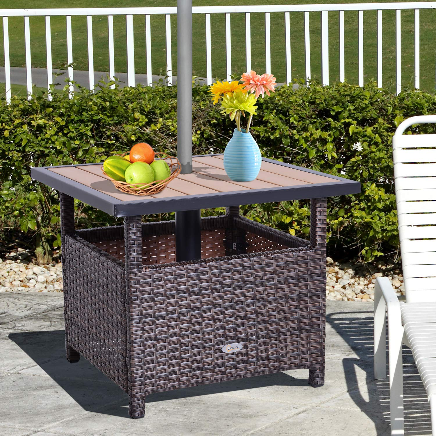 Outsunny 22 Steel PE Rattan Wicker Outdoor Patio Accent Table with Umbrella Insert