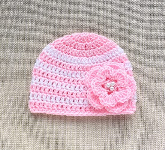 a474107e96a Image Unavailable. Image not available for. Color  Pink And White Baby Girl  Hat With Flower Crochet Newborn Photo Prop Beanie ...