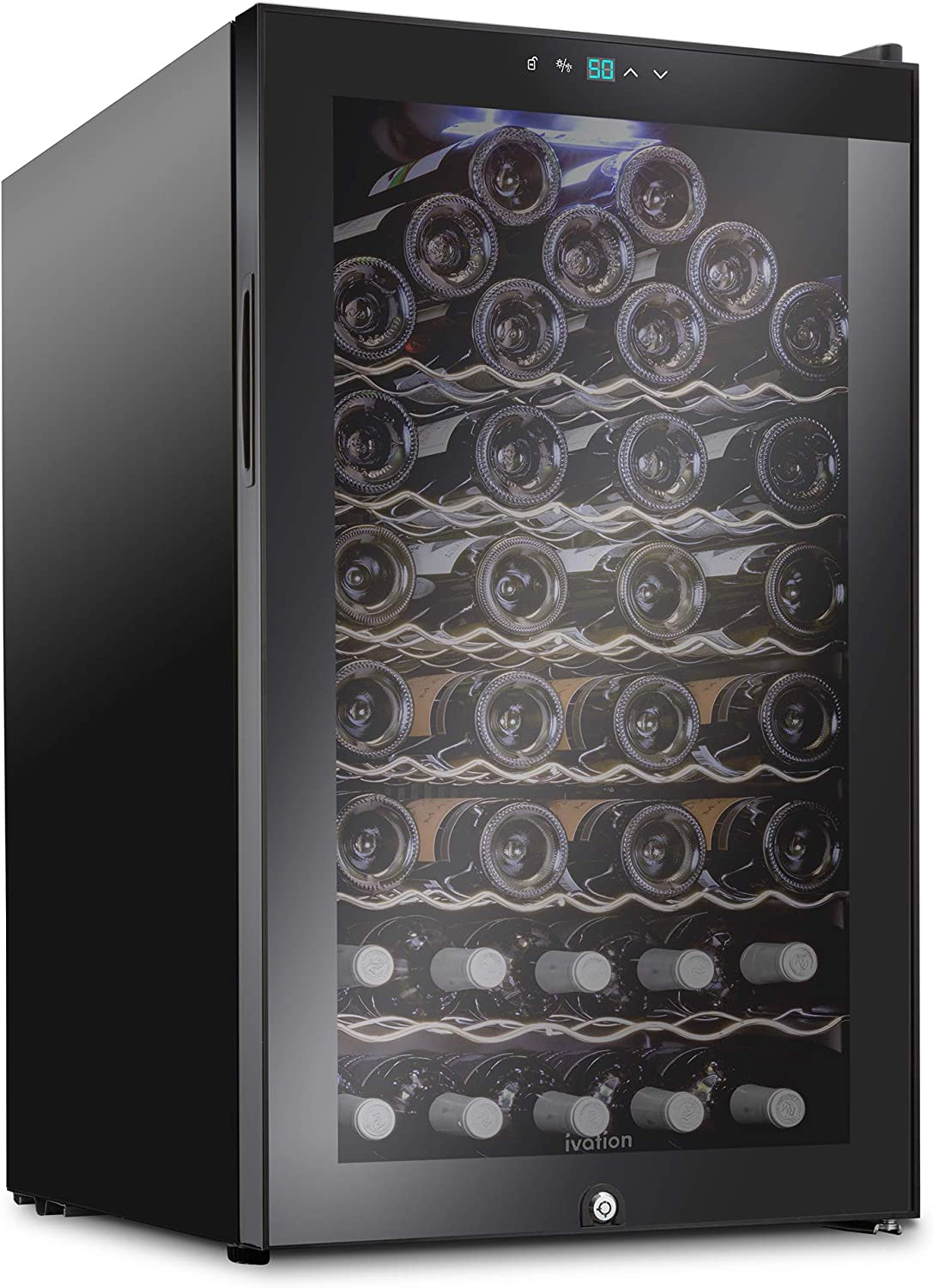 Ivation 51 Bottle Compressor Wine Cooler Refrigerator w/Lock | Large Freestanding Wine Cellar For Red, White, Champagne or Sparkling Wine | 41f-64f Digital Temperature Control Fridge Glass Door Black