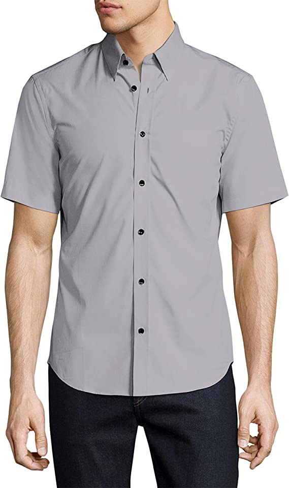 Crosshatch Men Summer Short Sleeve Slim Fit Shirt Casual Check Red Small X-Small