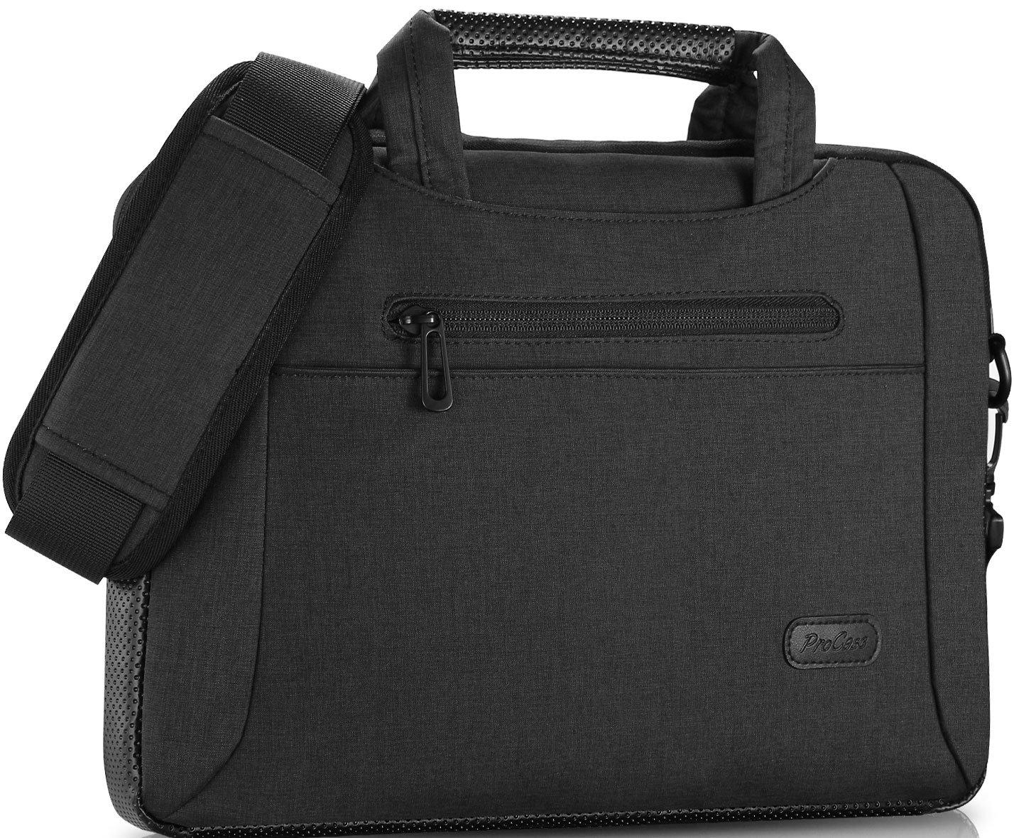 ProCase 11-12 Inch Laptop Bag Messenger Shoulder Bag Briefcase Sleeve Case for 12'' MacBook Surface Pro 2017 / Pro 4 3, 11 12 Inch Laptop Ultrabook Tablet Notebook MacBook Chromebook Computer -Black