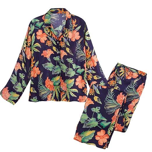 2390d119af CATALOG CLASSICS Women s Hibiscus Satin Pajamas - Floral PJ Top and Lounge  Pants - Large
