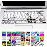 """Allytech Keyboard Cover Silicone Skin for MacBook Pro 13"""" 15"""" 17"""" (with or w/out Retina Display) iMac and MacBook Air 13"""" (Marble Pattern White)"""
