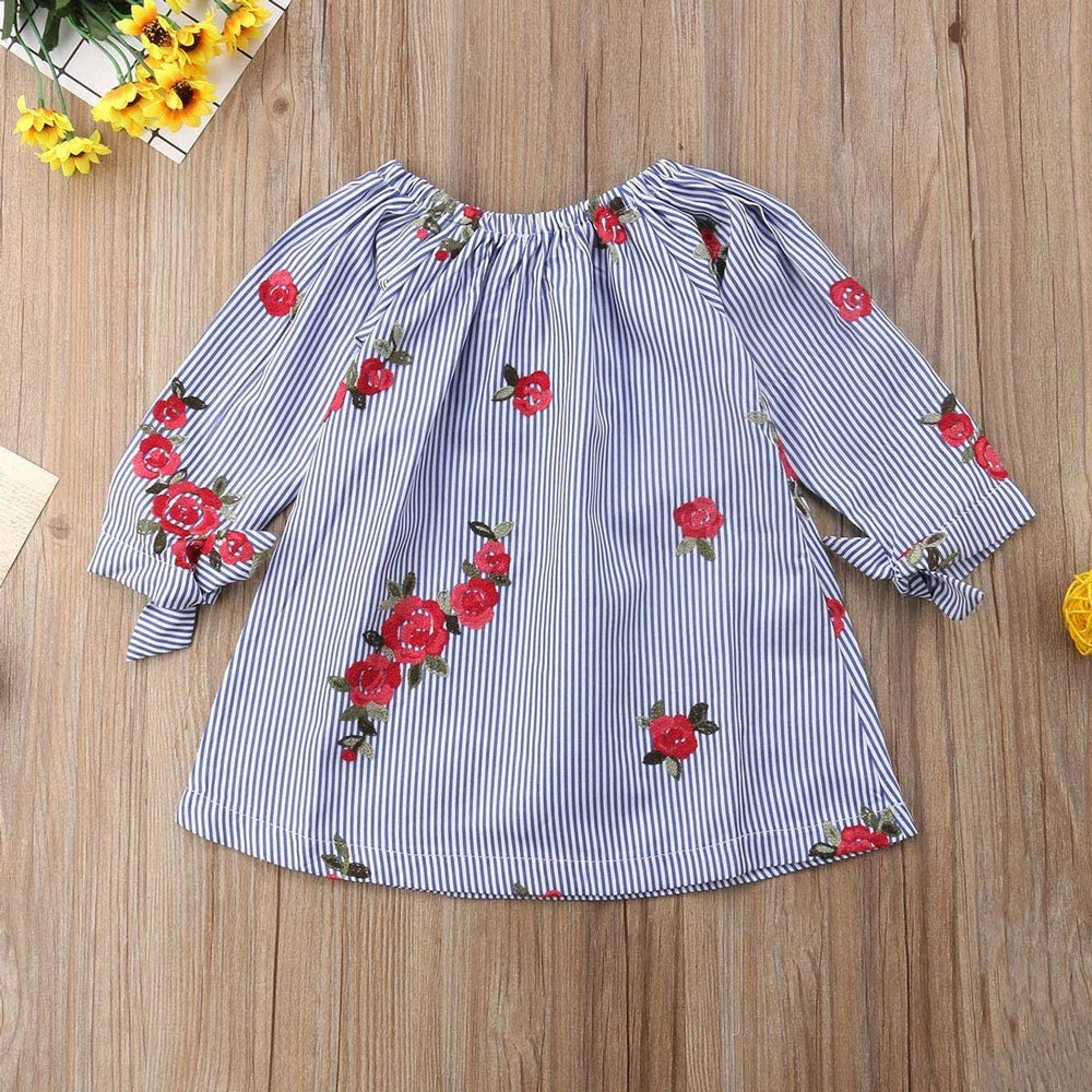 /Asisol Baby Girl Floral Dress Embroidery Long Sleeve Striped Off Shoulder Sundress