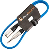 Male XLR to 6.35mm Stereo TRS Jack Lead / Balanced Signal / Audio Speaker Cable 1m Blue