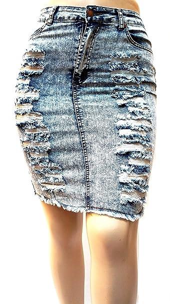 89a34317a Zenobia Sexy Womens Plus Size Stretch Distressed Ripped Acid Wash Blue Denim  Jeans Skirt (2X