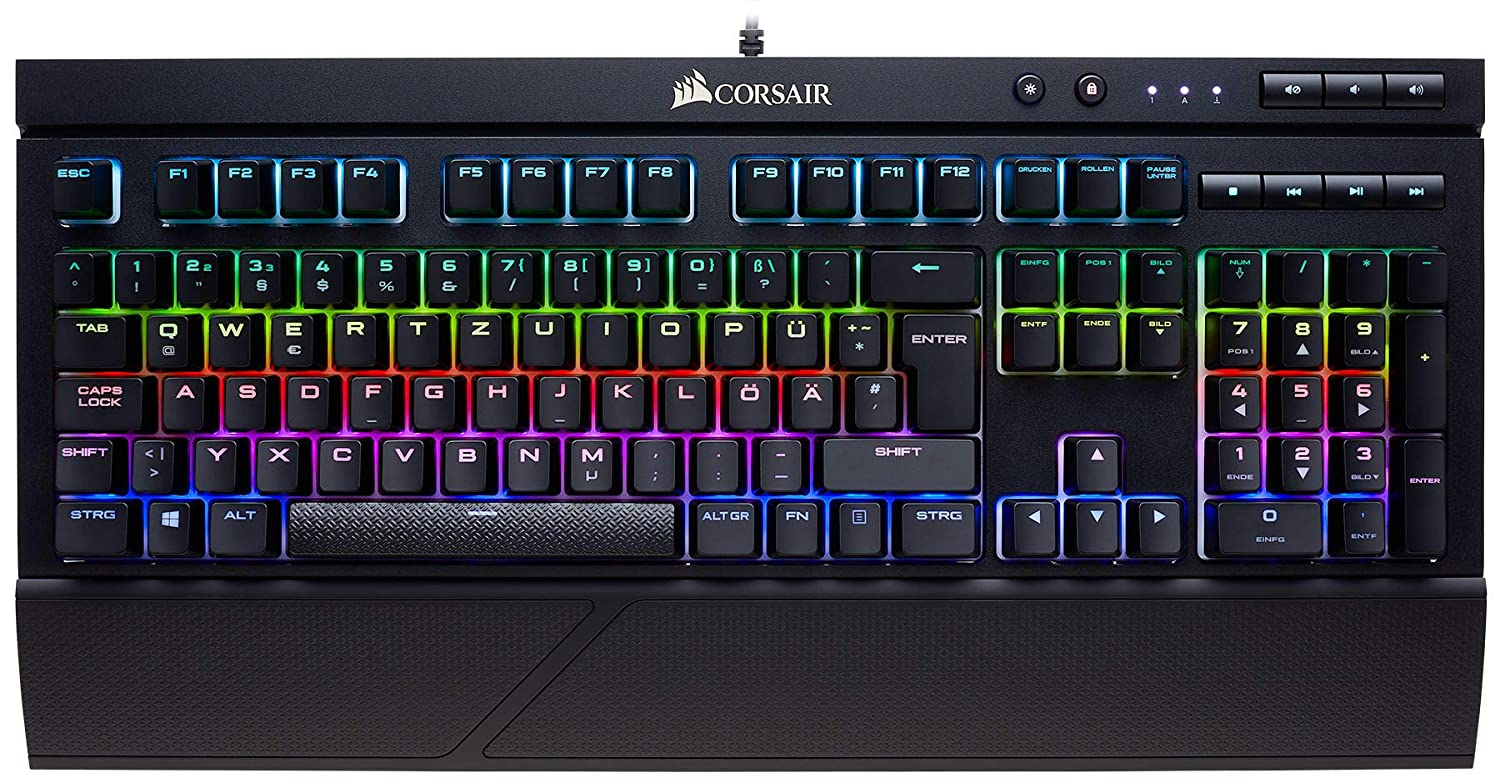 Corsair K70 RAPIDFIRE Mechanische Gaming Tastatur (Cherry MX Speed, Multi-Color RGB Beleuchtung, QWERTZ) schwarz CH-9101014-DE