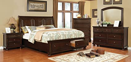 Esofastore Castor Collection Transitional Bedroom Furniture 4pc Set Brown  Cherry Queen Size Bed Dresser Mirror Nightstand