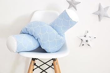 KraftKids Bettrolle weiße Halbkreise auf Pastelblau Rollenlänge 200 cm