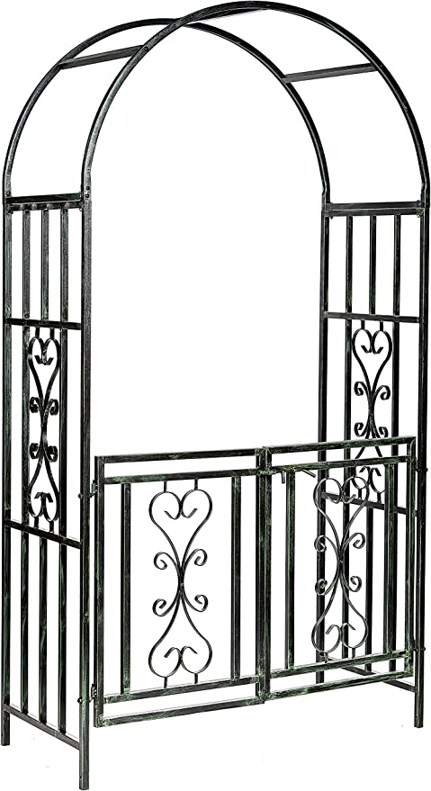 Ruddings Wood Heavy Duty Winchester Garden Arch with Gates Climbing Rose Plant Support Pergola Gated Entrance Archway