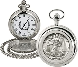 product image for Coin Pocket Watch with Quartz Movement | Silver Walking Liberty Half Dollar | Genuine U.S. Coin | Sweeping Second Hand, Roman Numerals | Silvertone Case | Certificate of Authenticity