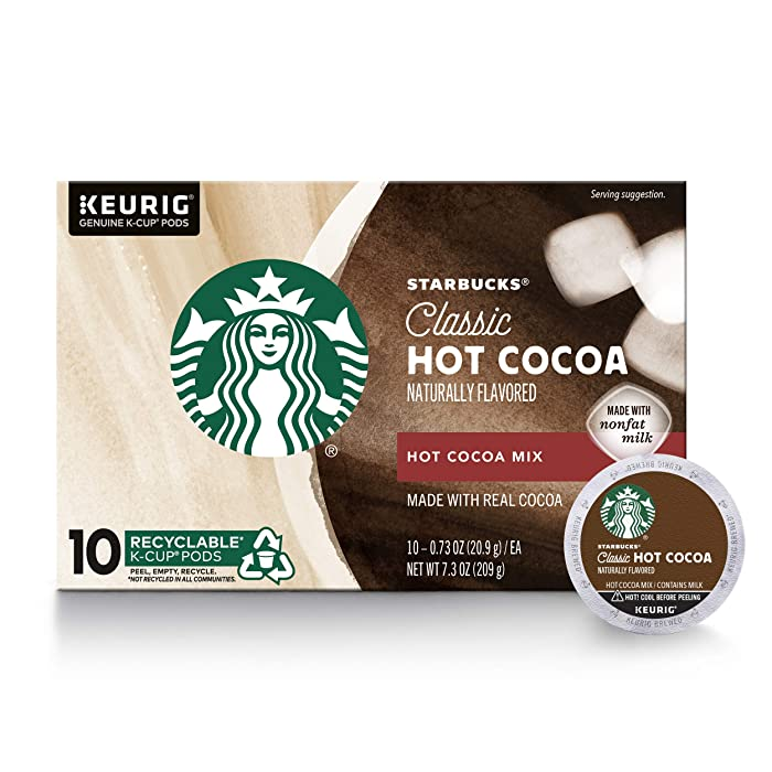 Starbucks Classic Hot Cocoa K-Cup for Keurig Brewers, 1 Box of 10 (10 Total K-Cup pods)