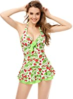 Women's One Piece Halter Push Up Strawberry Ruched Tankini