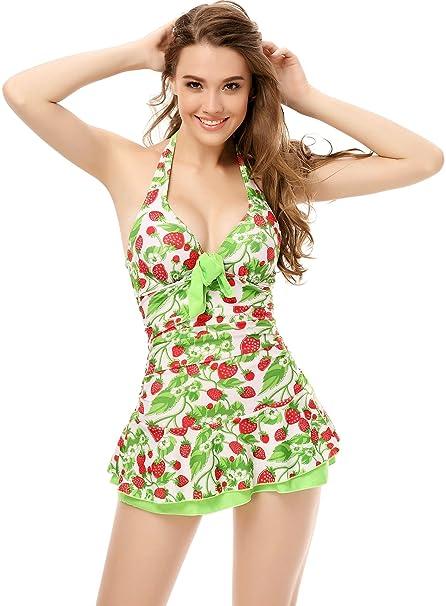 Moda Con A De Traje Baño Cuello Cordón Estampado Una Flores Y Bañador Lazada La Vestido Hálter Florecitas Playa Pieza Completos Espalda iwOuTlPZkX