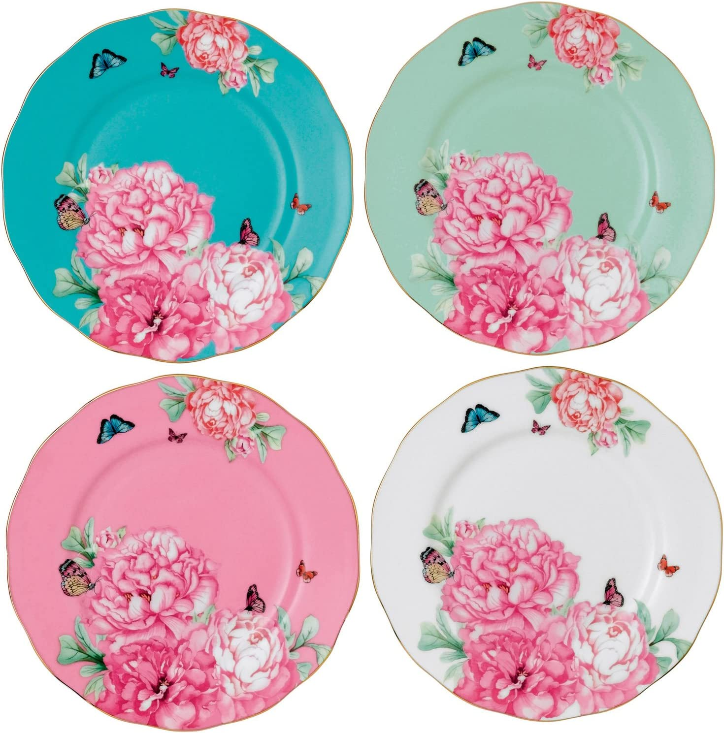 Amazon Com Royal Albert Friendship Accent Plate Designed By Miranda Kerr 8 Inch Set Of 4 Kitchen Dining